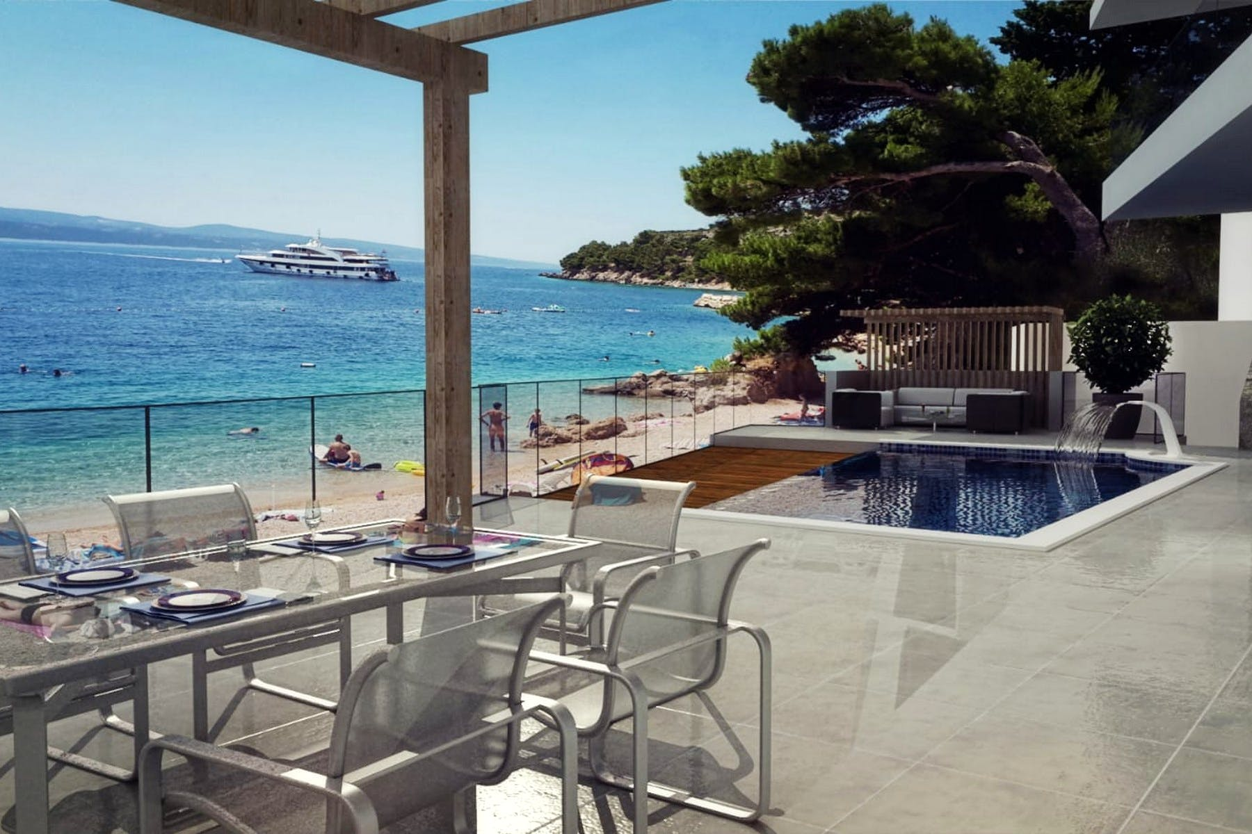 Open sea view from the villa for sale near Omiš