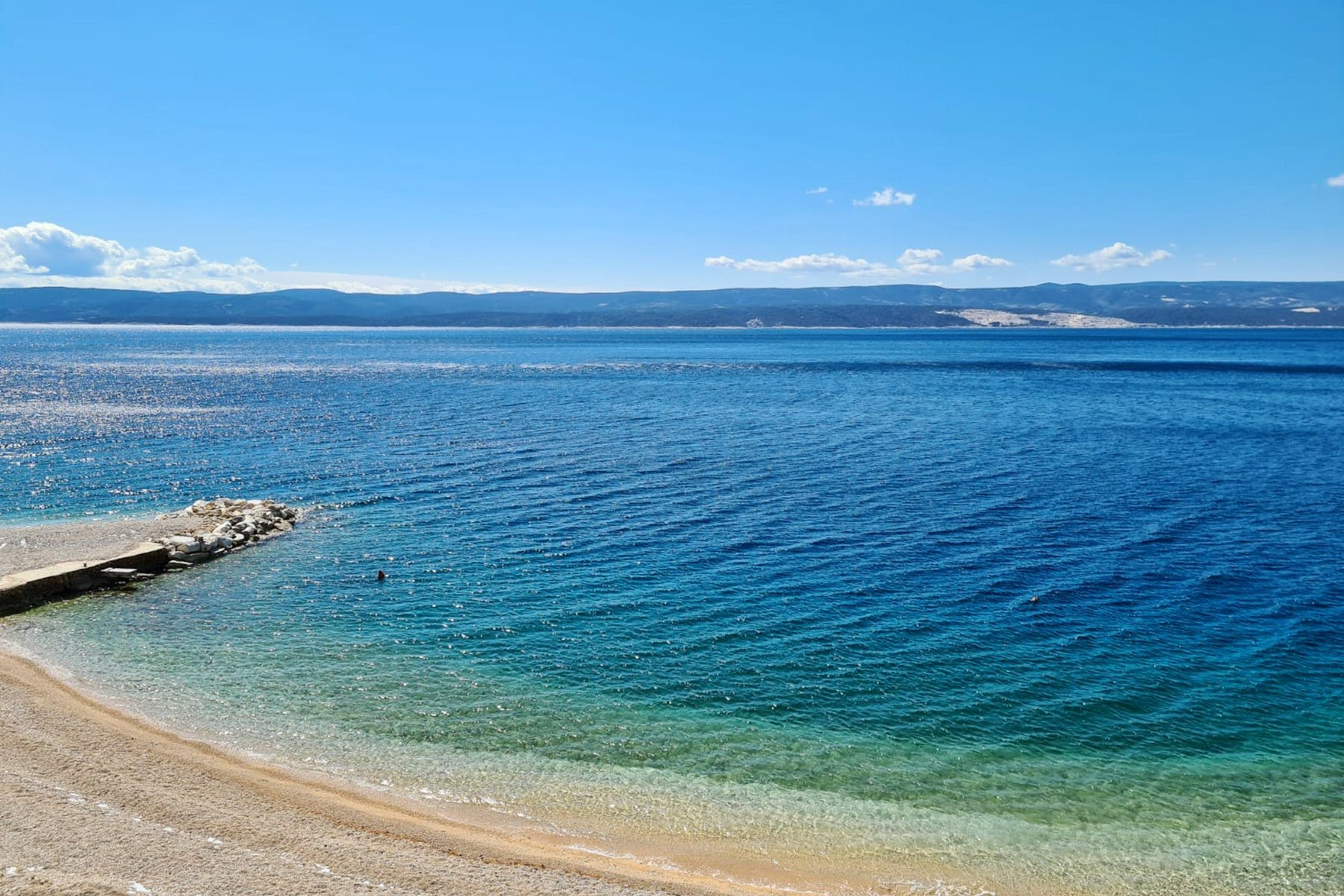 Beach in front of the villa for sale near Omiš