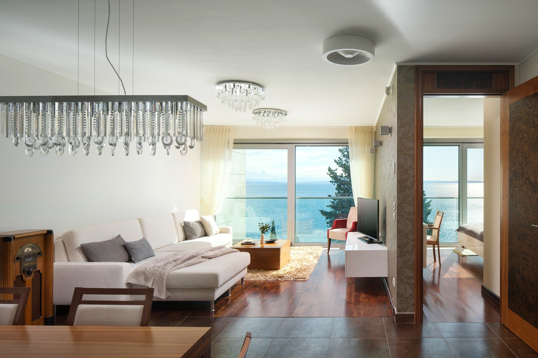 Open space living area of apartment in Opatija for sale