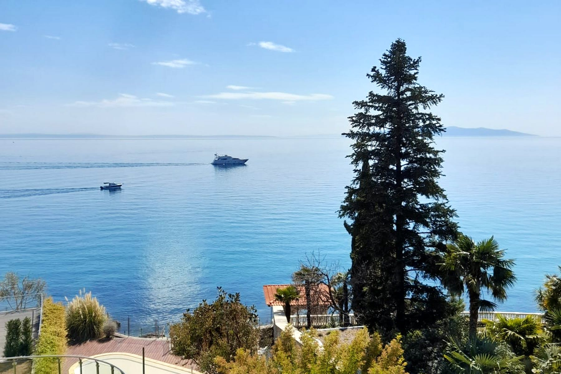 Open sea view from the sea front apartment in Opatija for sale