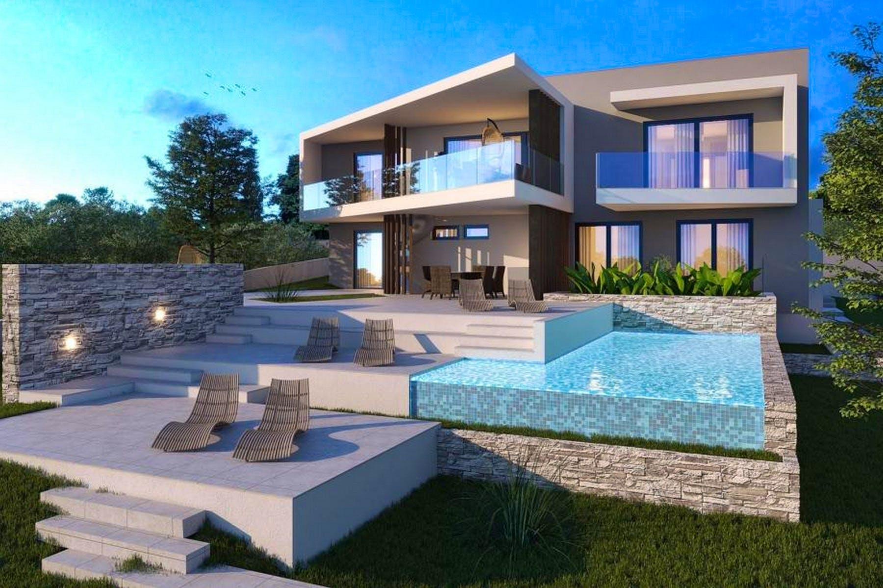 Project of modern villa on plot near Rogoznica for sale