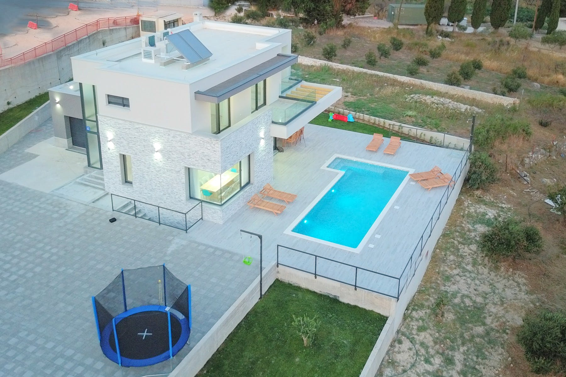 View of the contemporary villa near Split