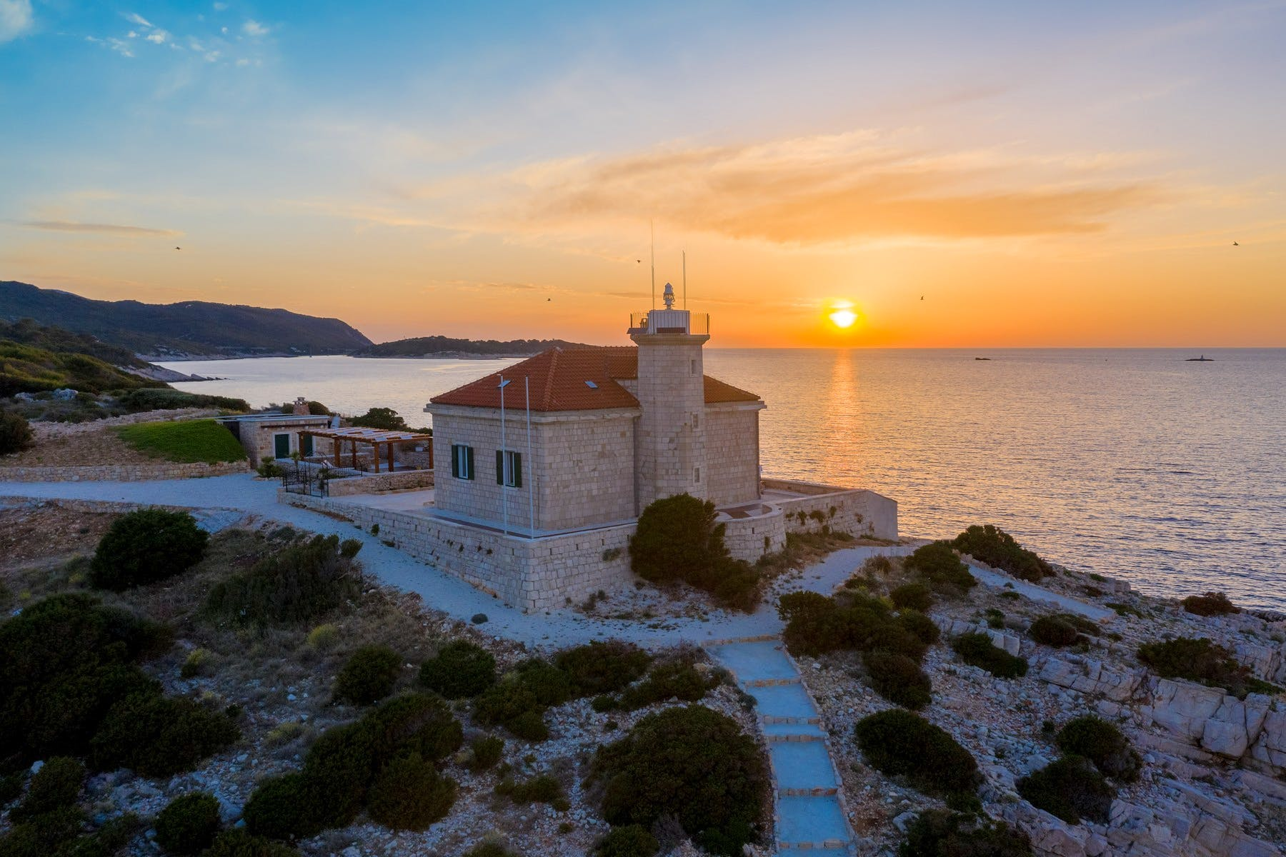 Stone villa for rent offering magical sunset view