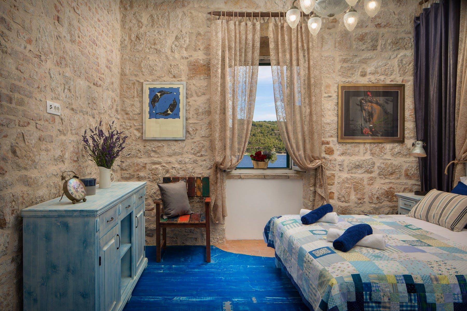 Interior details in double bedroom