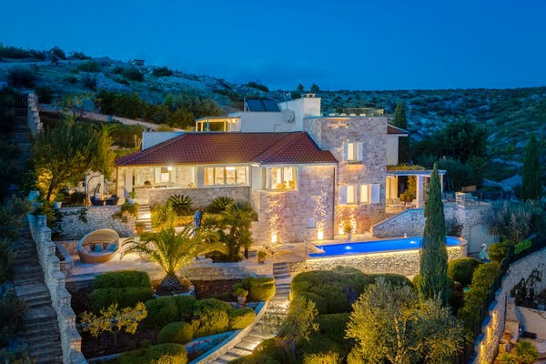 Night ambience of stone villa for sale