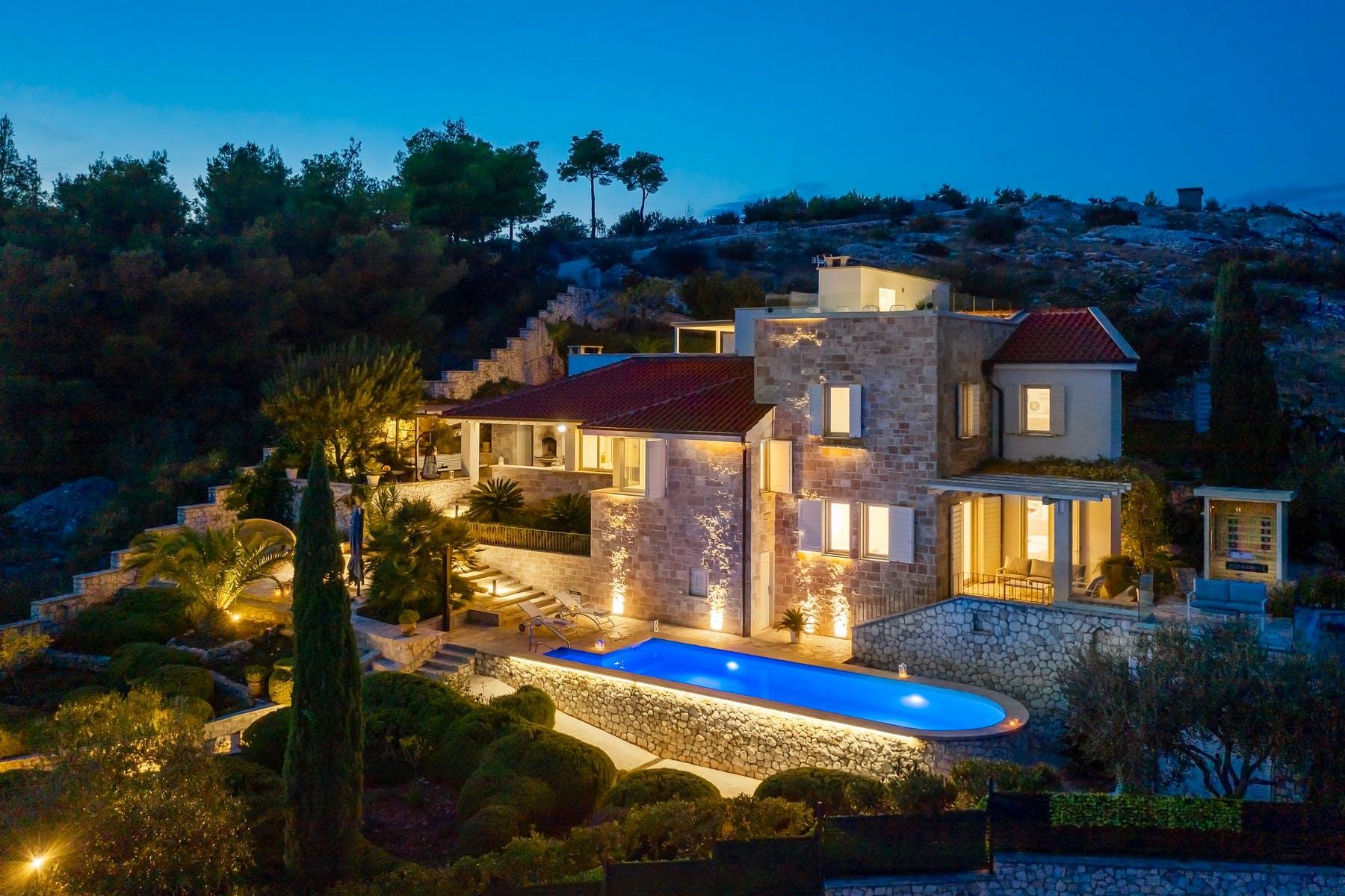 Night atmosphere of luxury villa