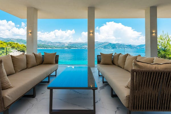 Living room with stunning sea view