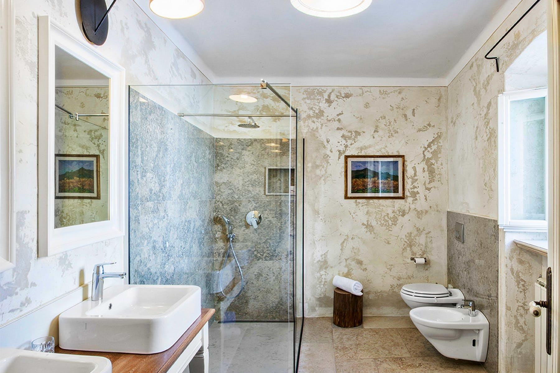 Bathroom area with modern amenities