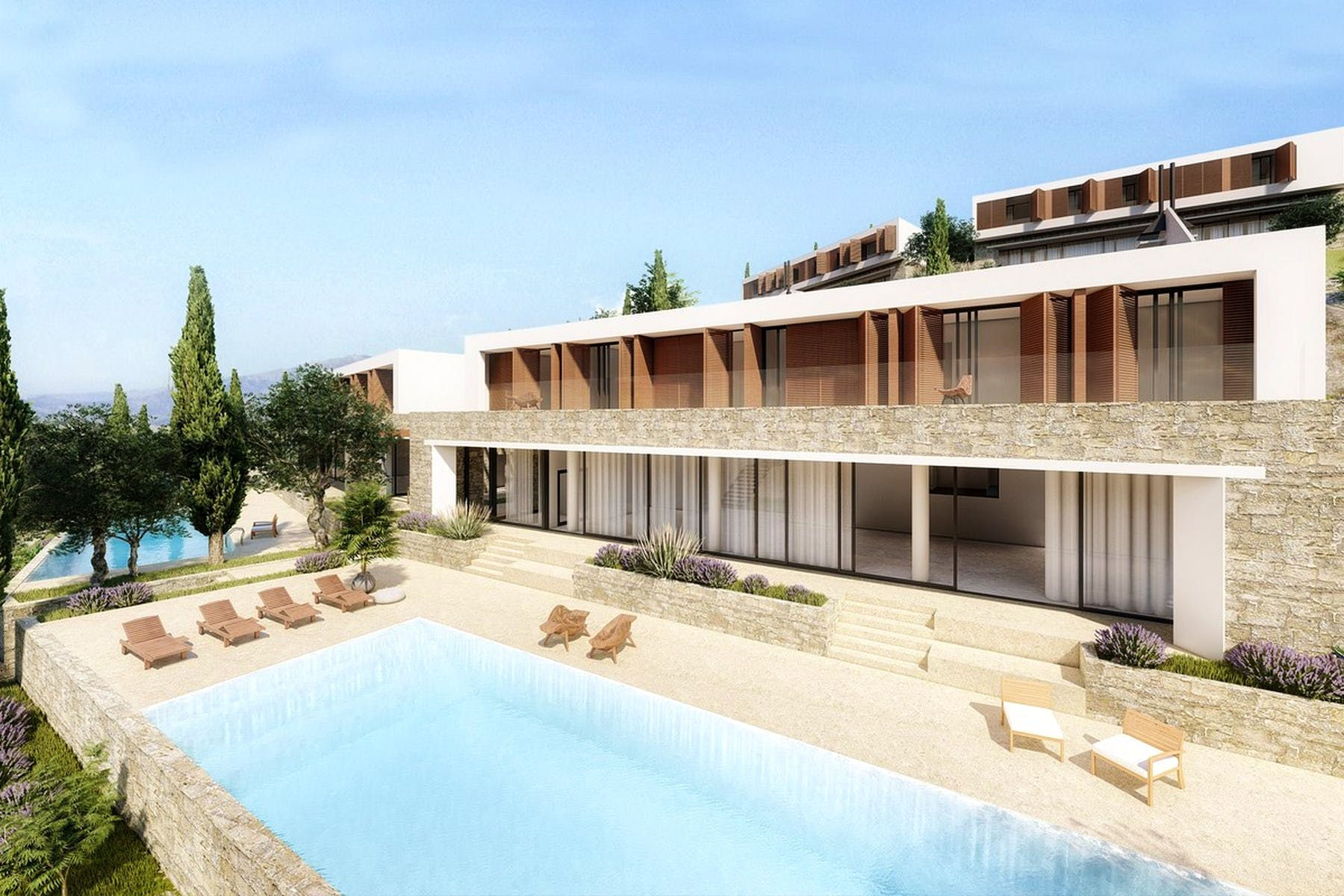 Seafront plot with project of modern villa for sale