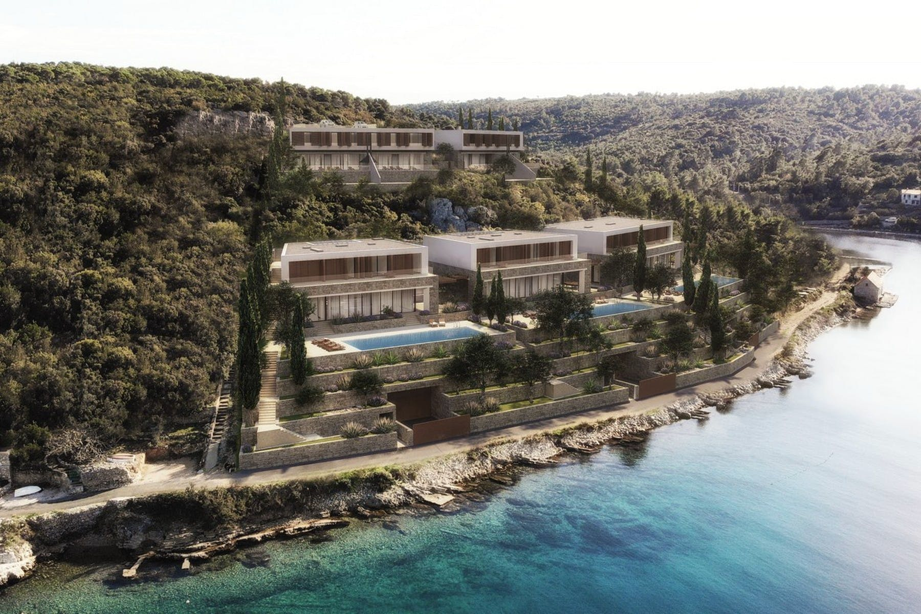 Seafront plot with the project for modern villas for sale