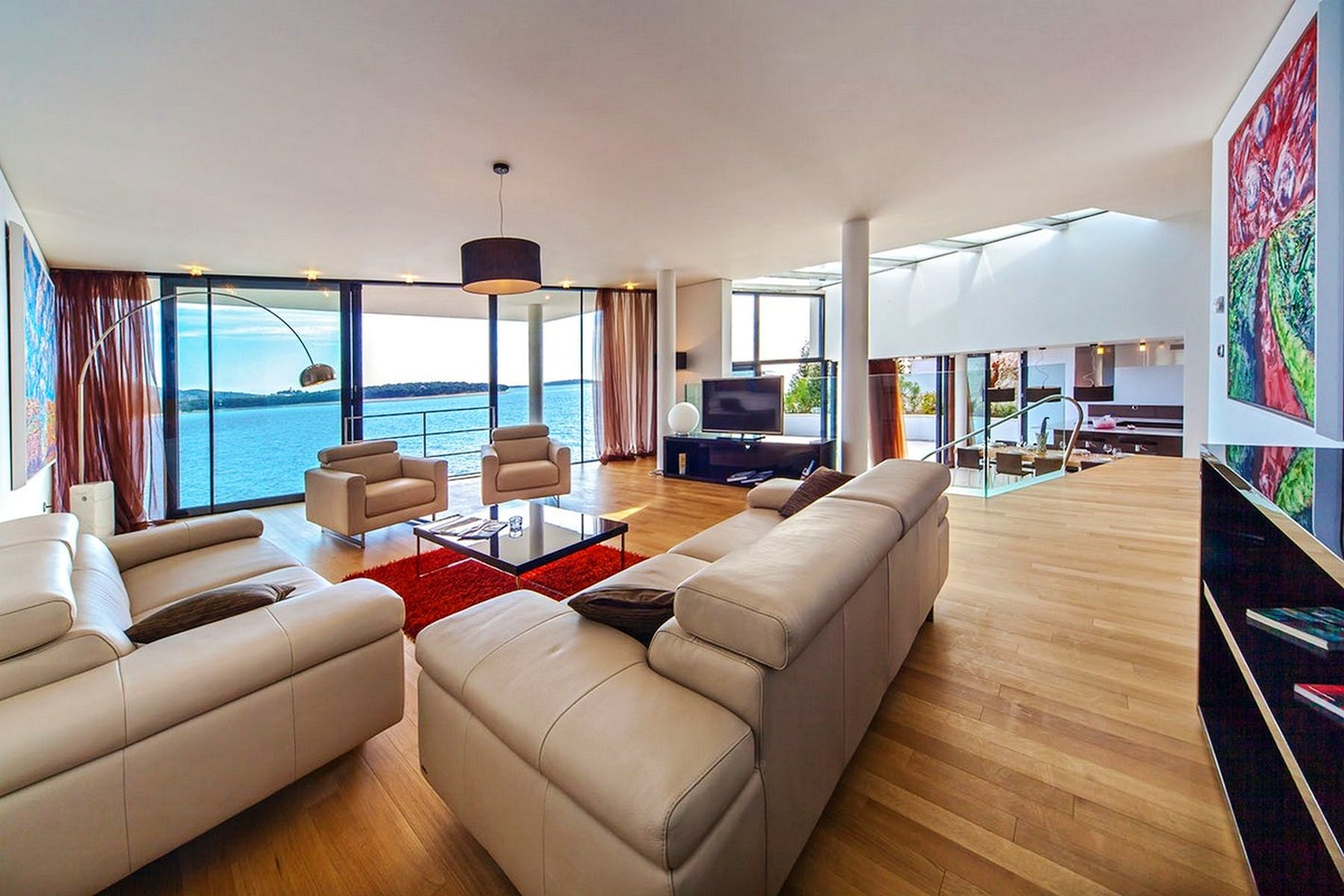 Spacious living area with sea view
