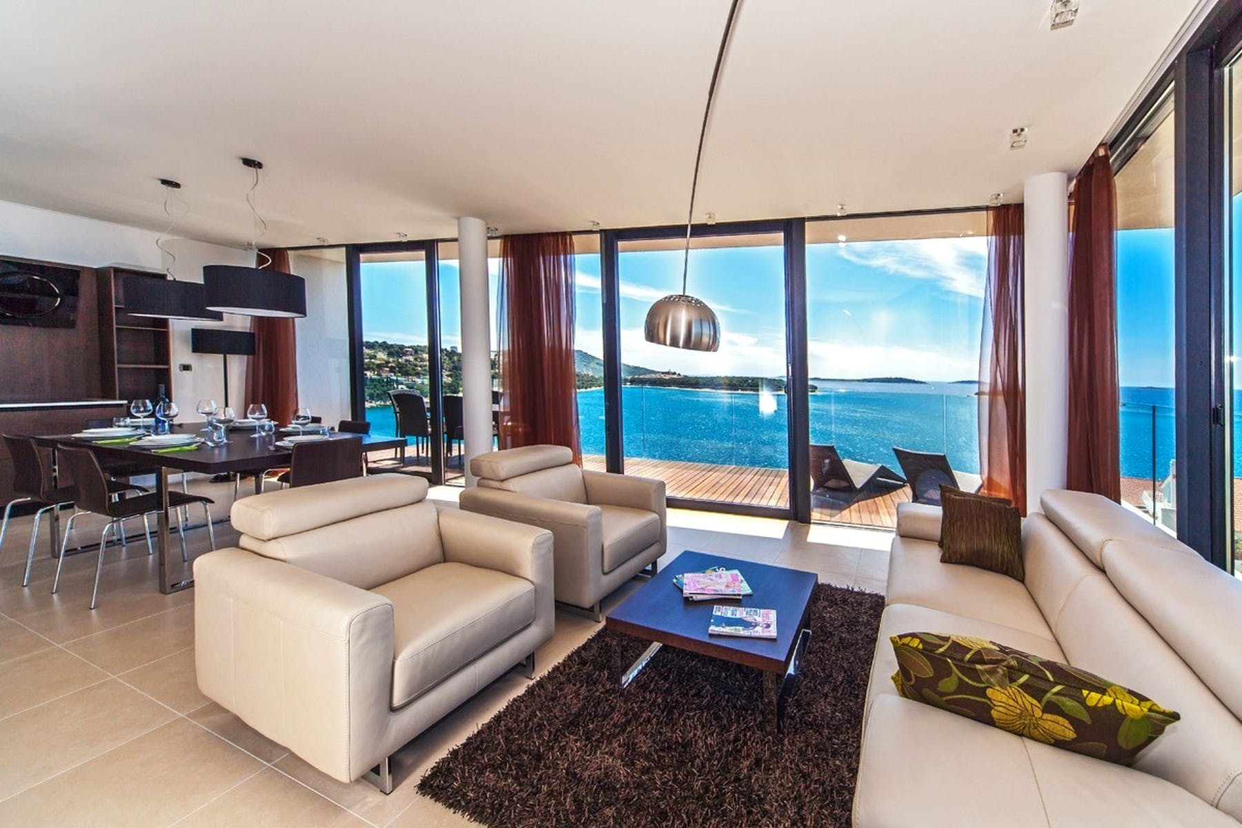Open space living area with sea view