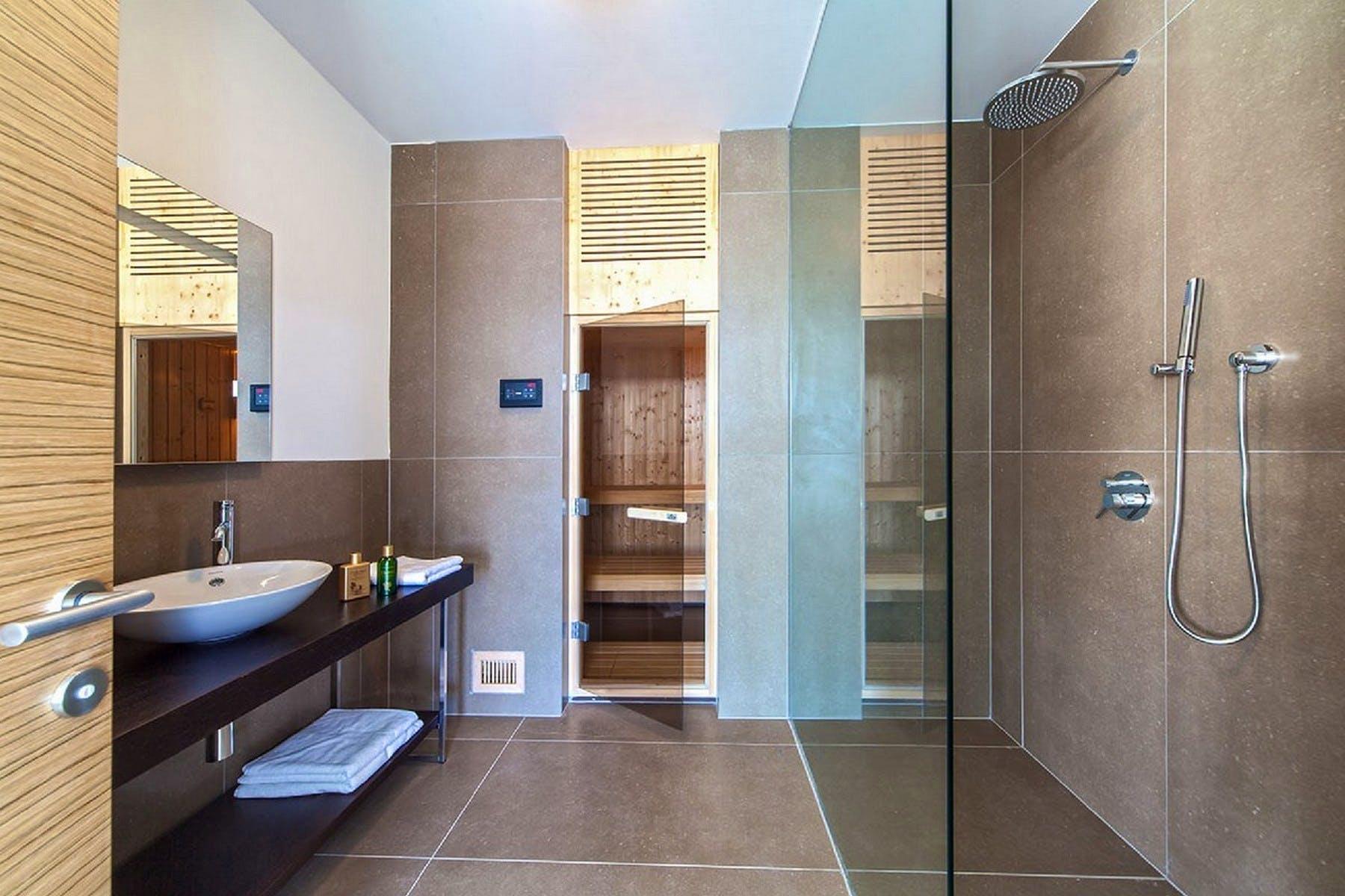 Modern bathroom with a sauna