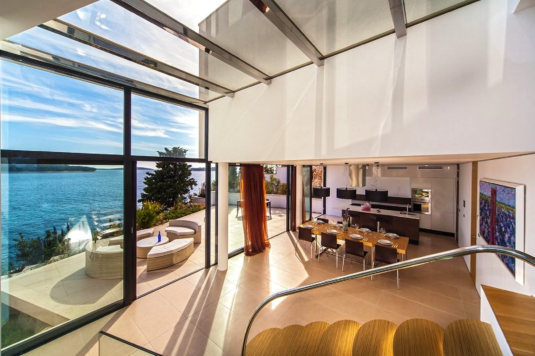 Modern interior with sea view