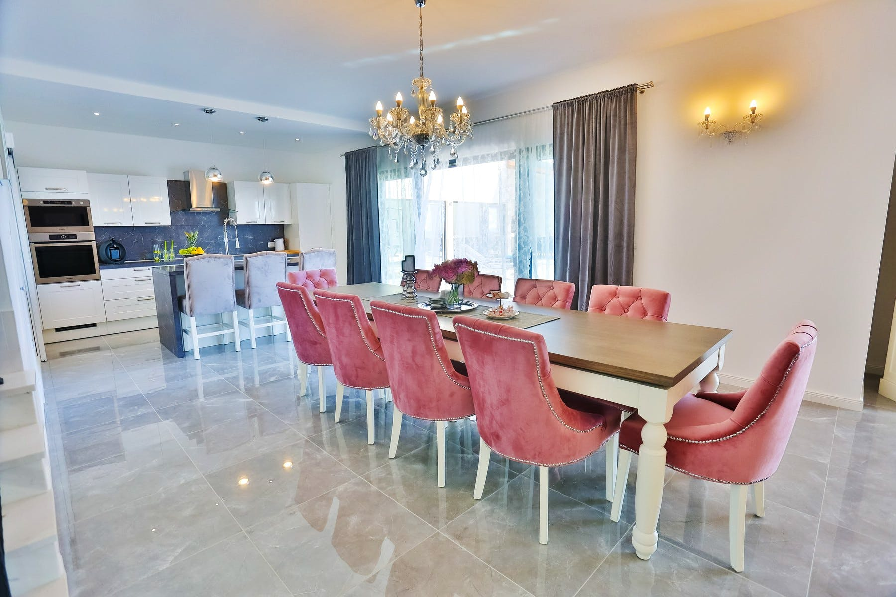 Fully fitted modern kitchen and dining area