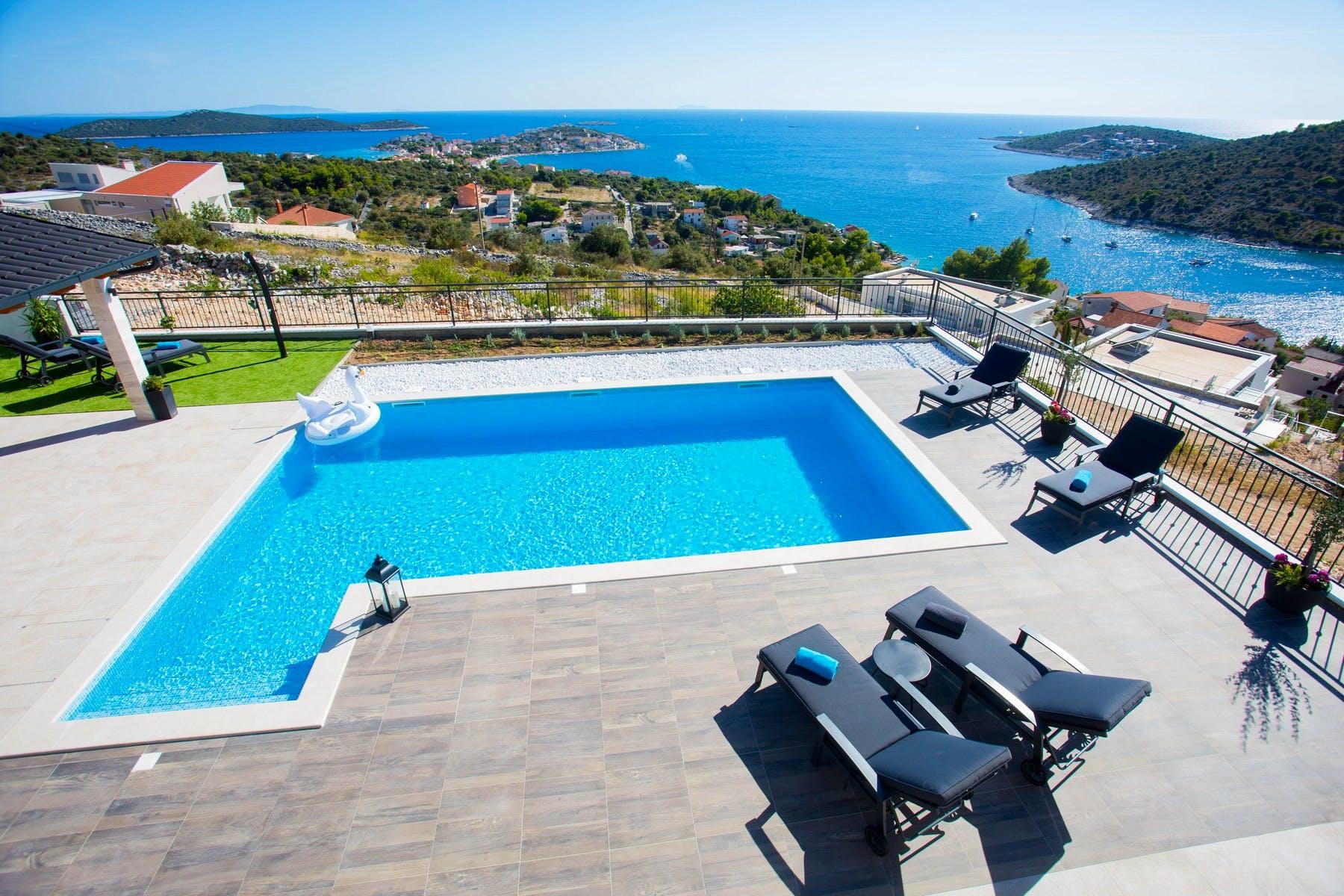 Mesmerizing sea view from the villa near Rogoznica for sale