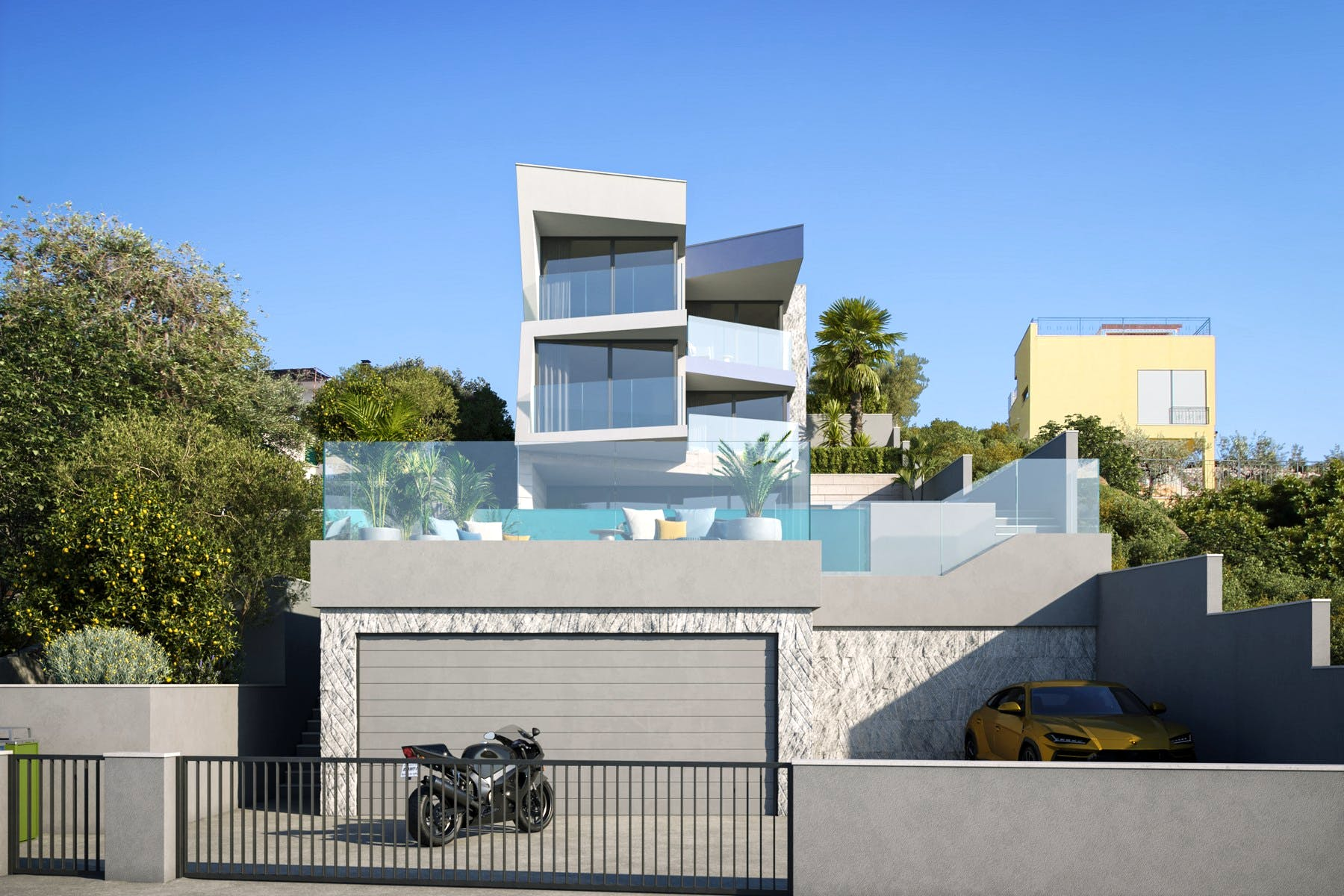 Luxury villa under construction in the exclusive seafront location for sale