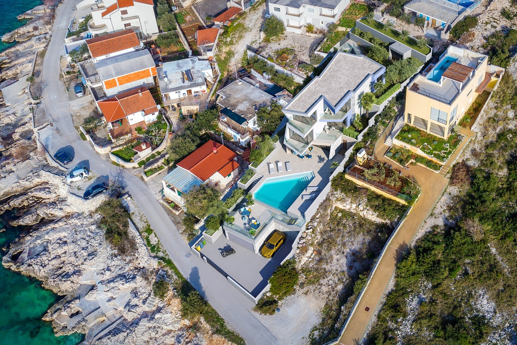 Luxury villa with swimming pool under construction