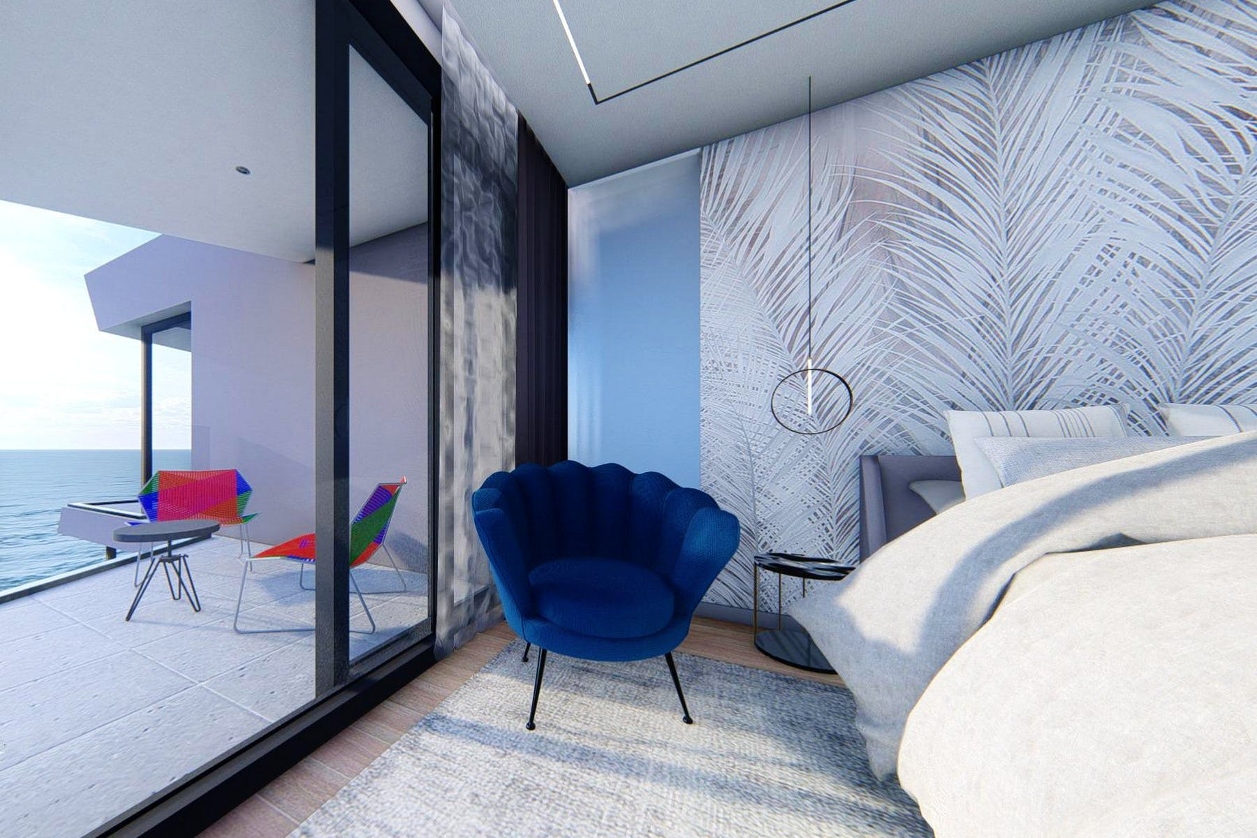 Modern ensuite bedroom with sea view