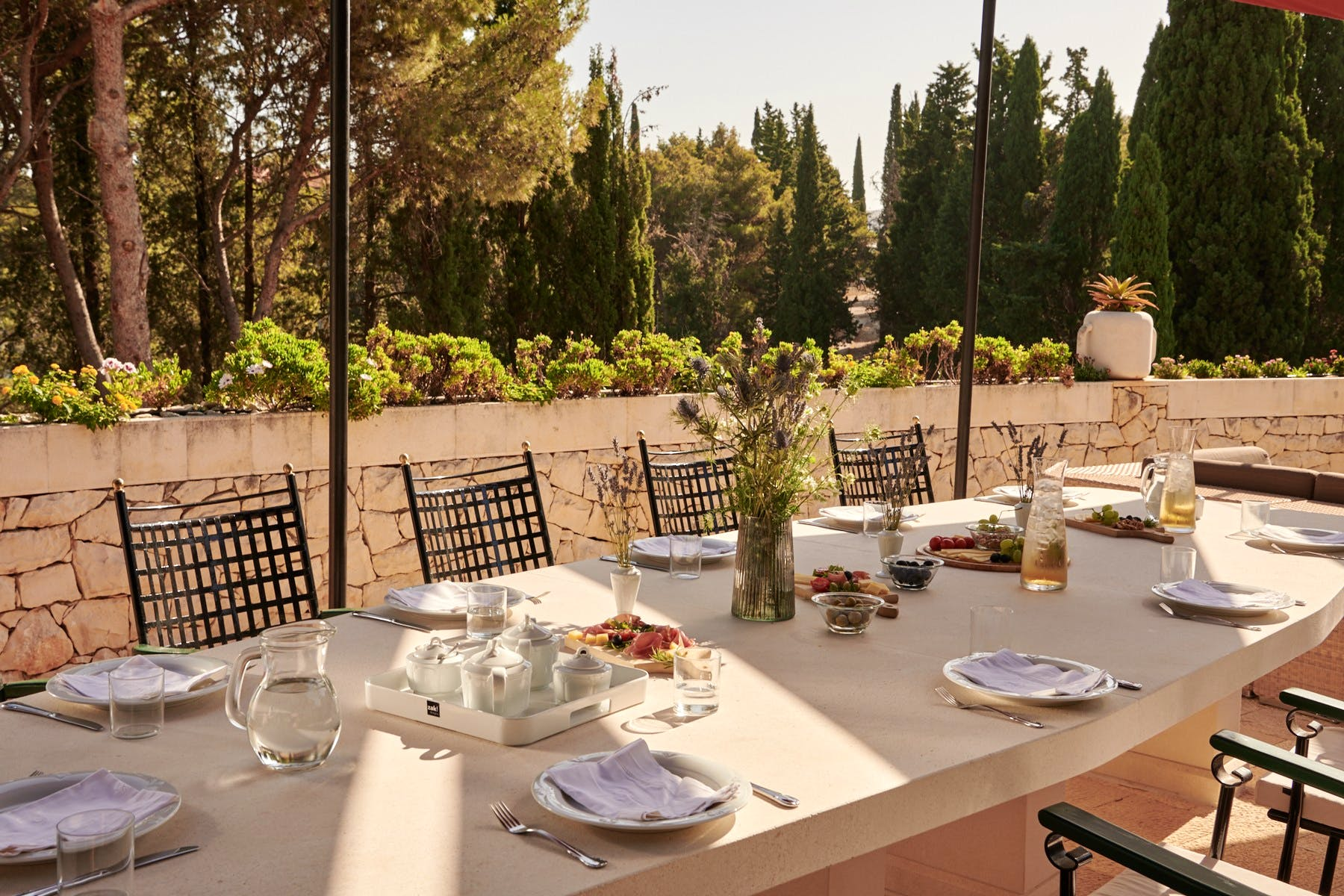 Romantic ambiance  around outdoor dining area