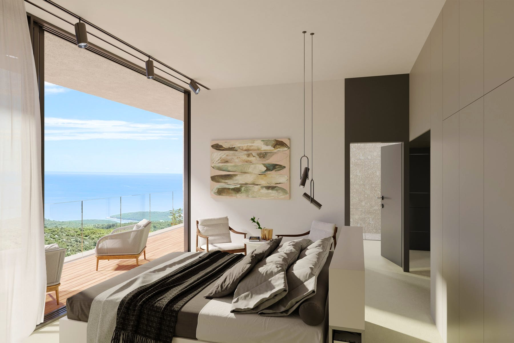 Double bedroom offers picturesque sea view