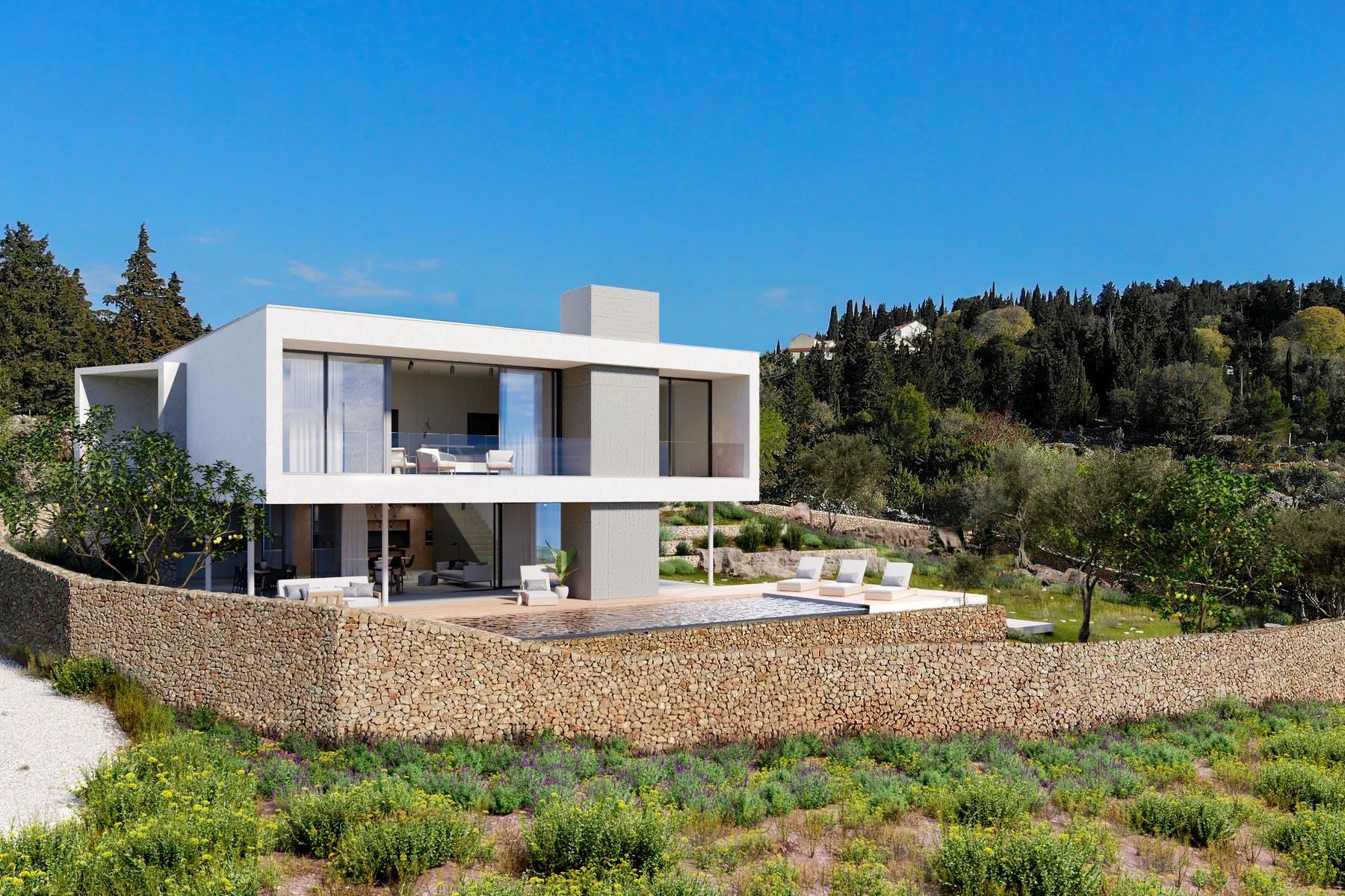 Attractive modern exterior of the villa