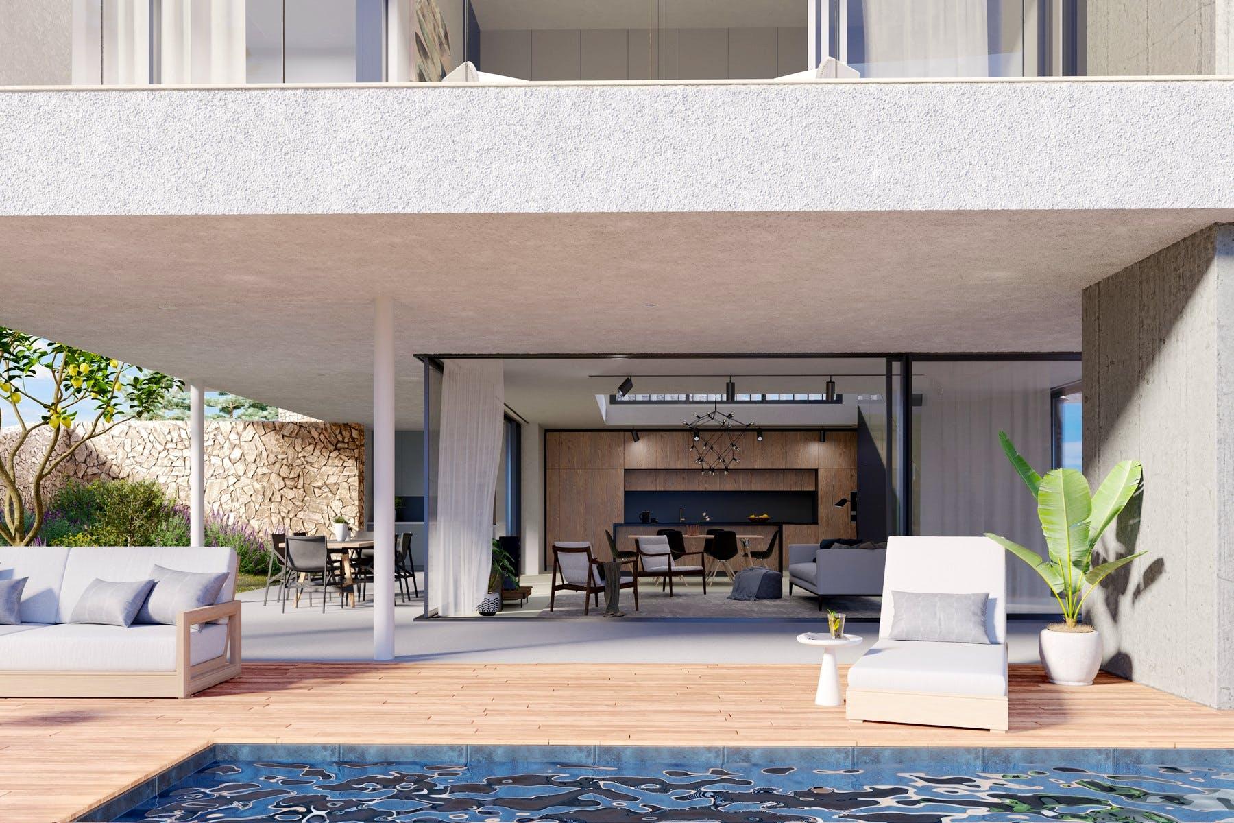 Spacious poolside terrace