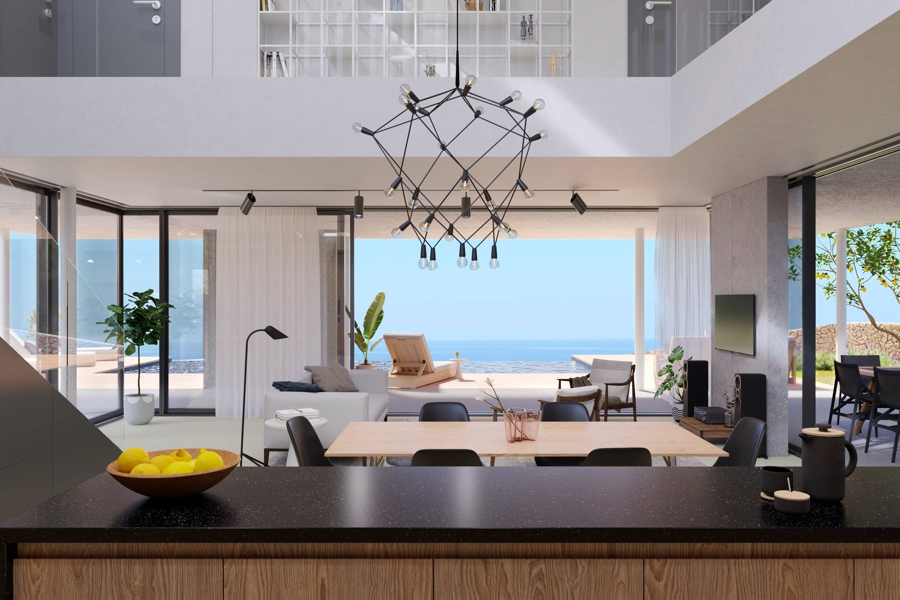 Contemporary living area offers an open sea view