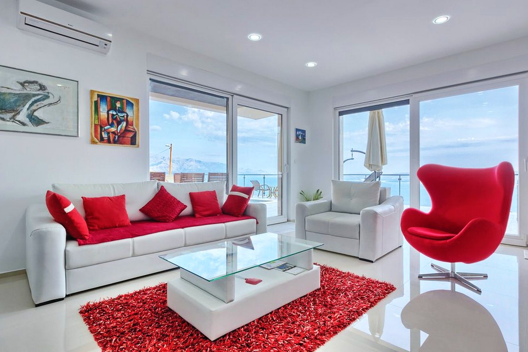 Open plan living area with open sea view