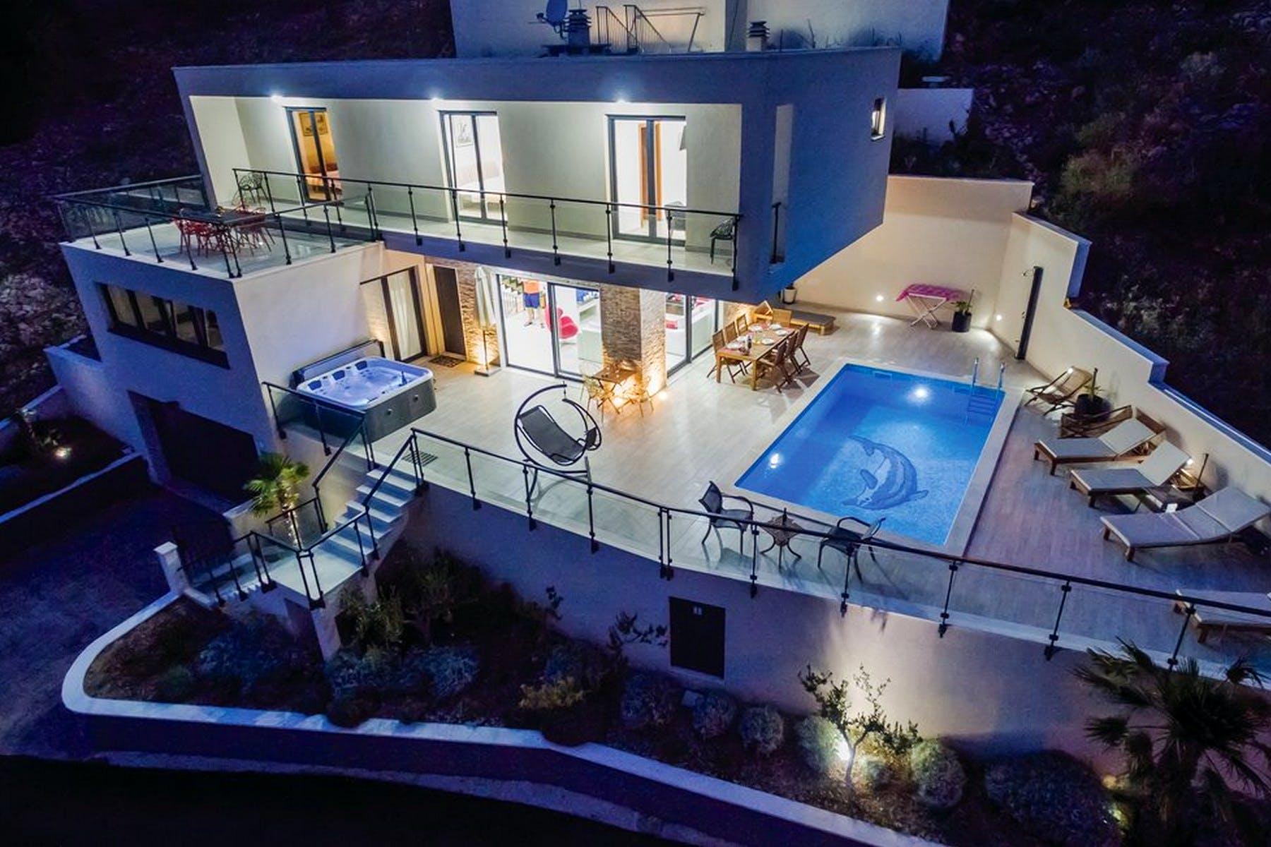Night atmosphere of modern villa near Omiš for sale