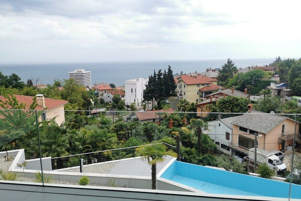 Sea view from the terrace of newly built apartment in Opatija for sale