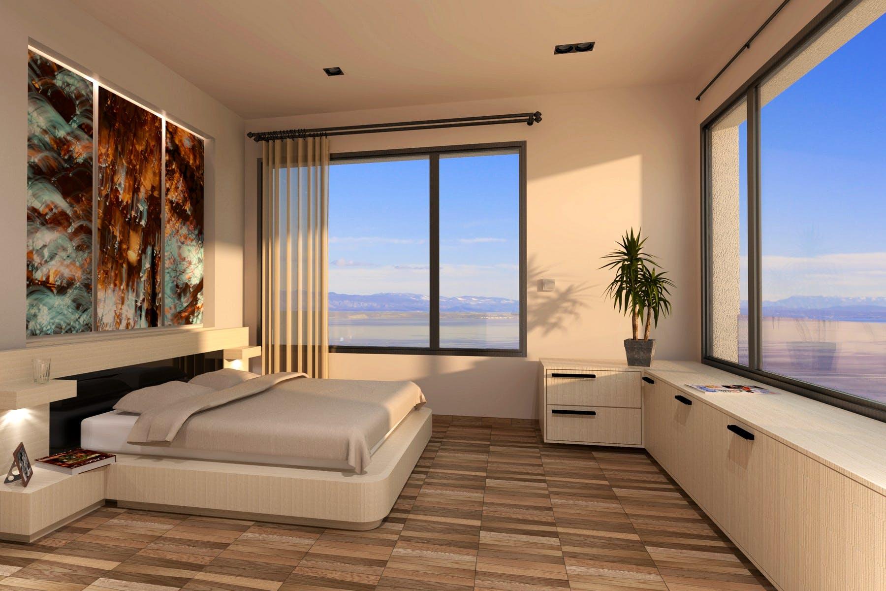 Moderna en-suite spavaća soba s otvorenim pogledom na more