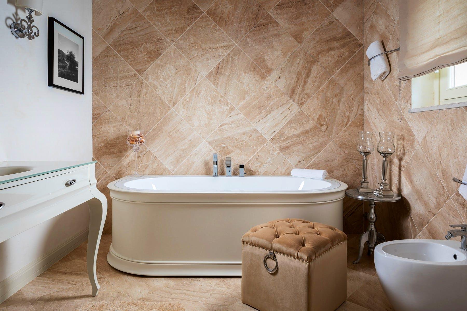 Bathroom area with luxurious amenities