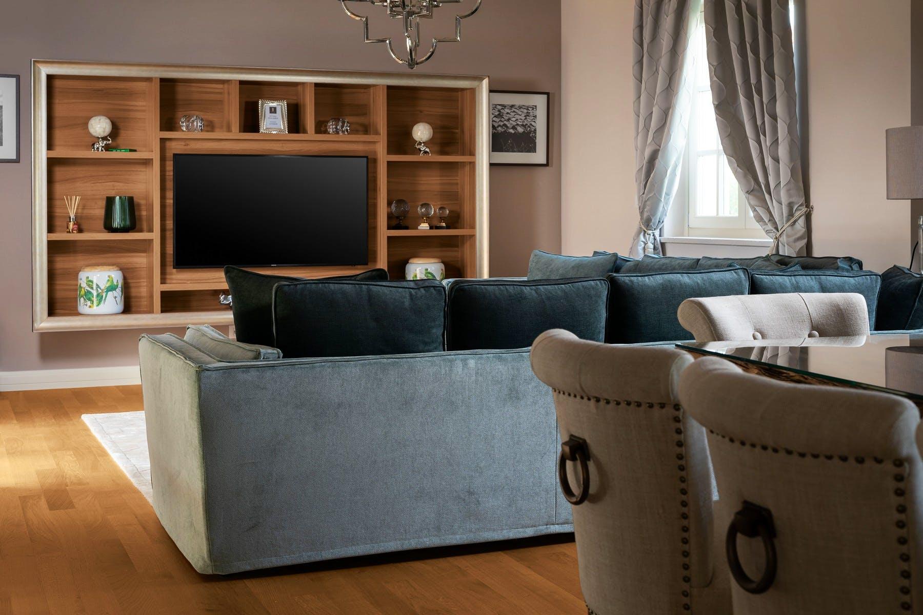 Living room area with lavish decor details