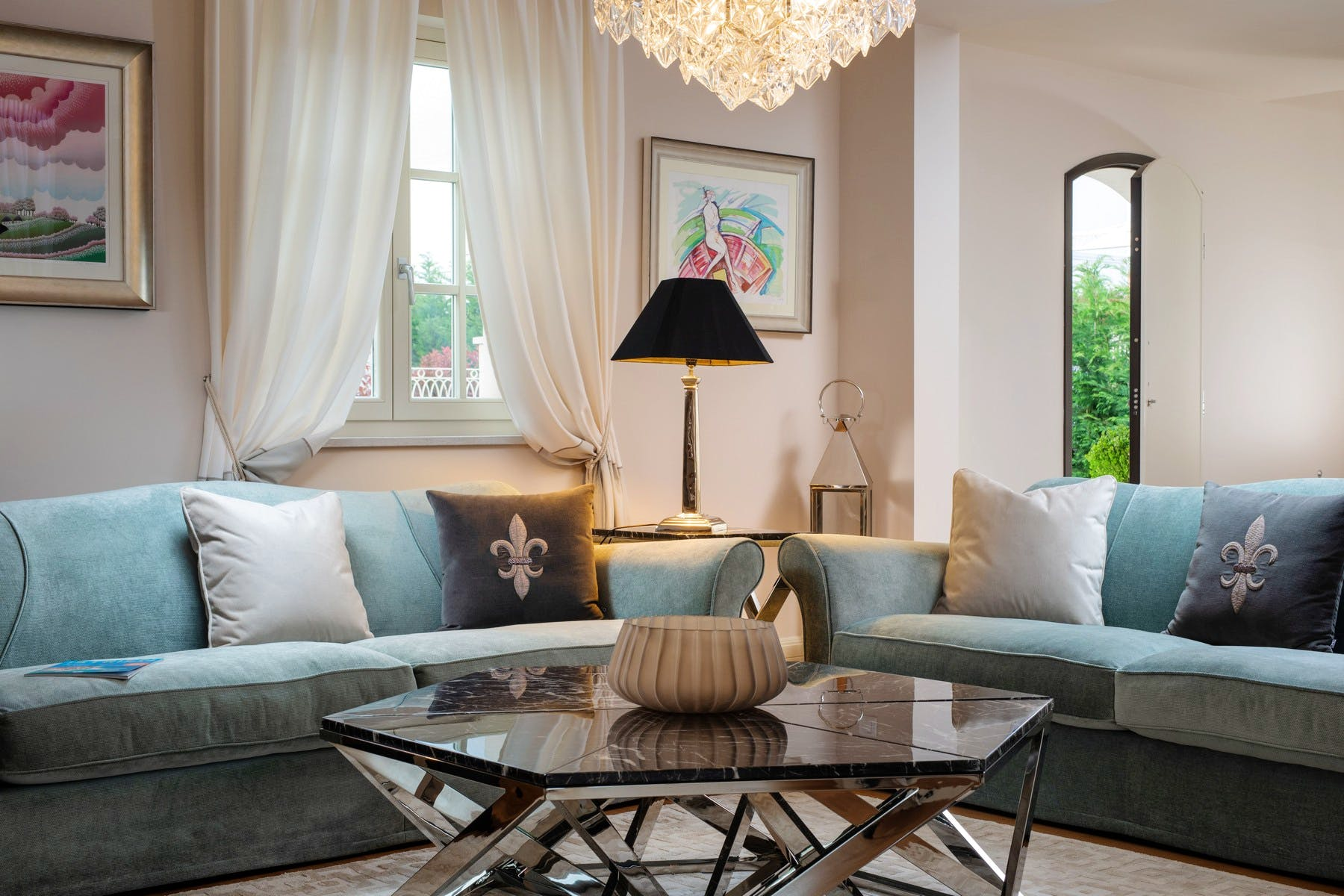 Interior design styling with art deco elements