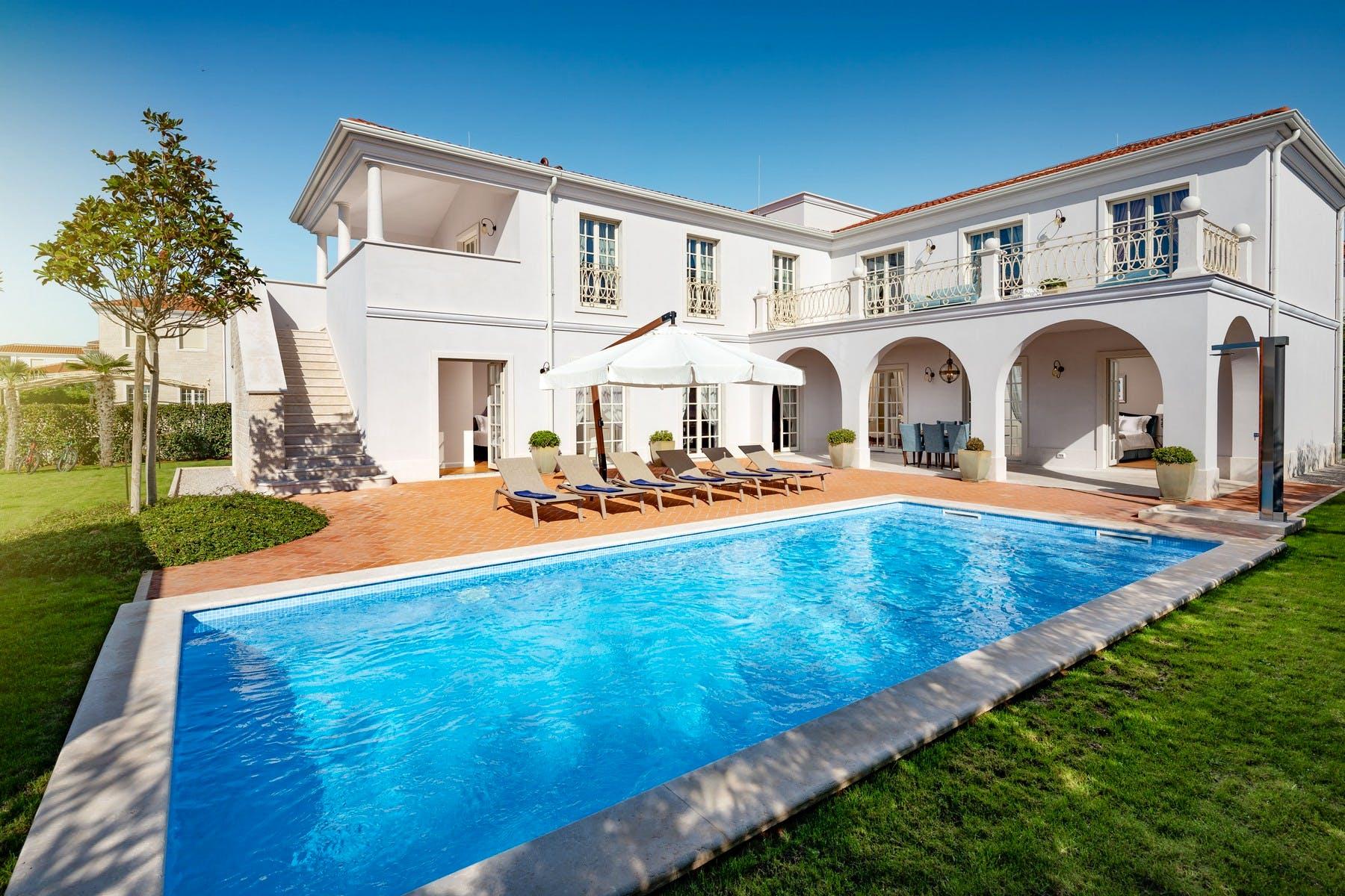 Majestic exterior design of holiday villa