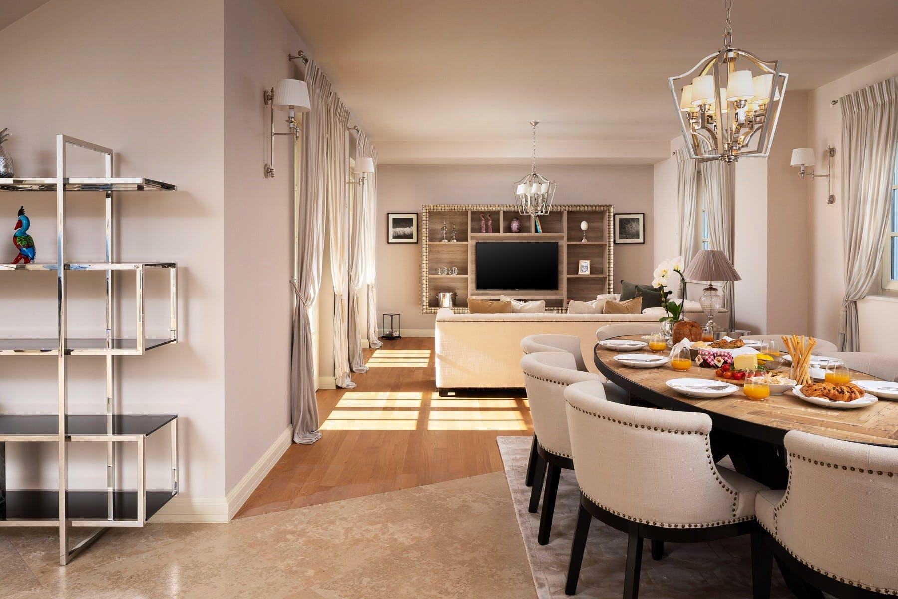 Living room area in neutral tones