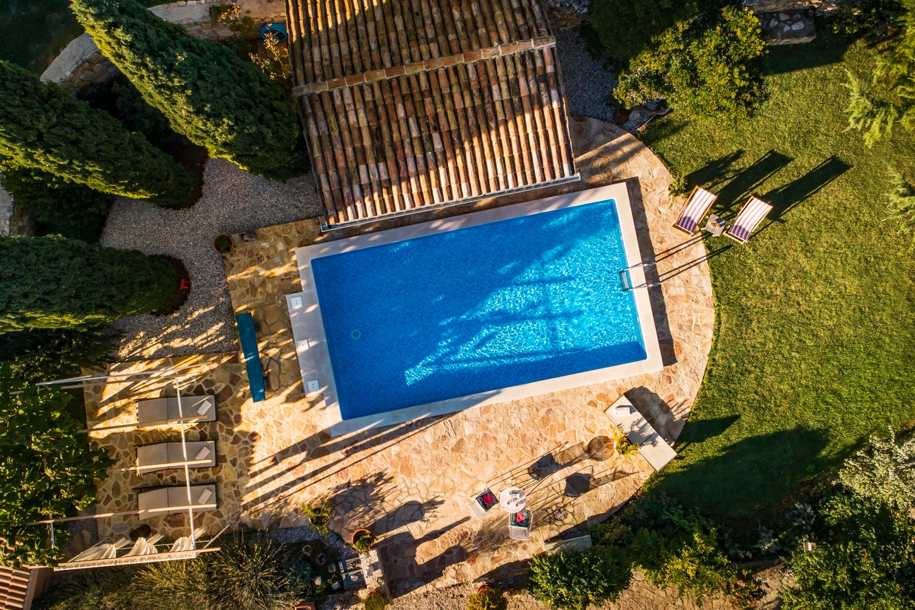 Stunning outside space of stone villa in Istria
