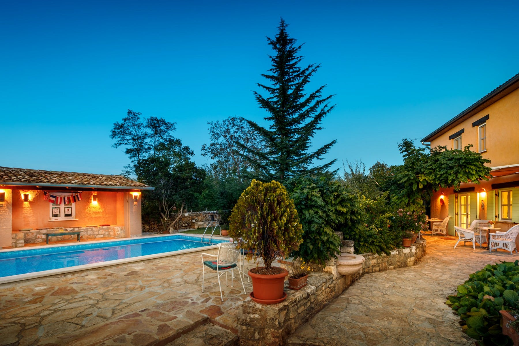 Night ambiance of the stone house for sale in Istria