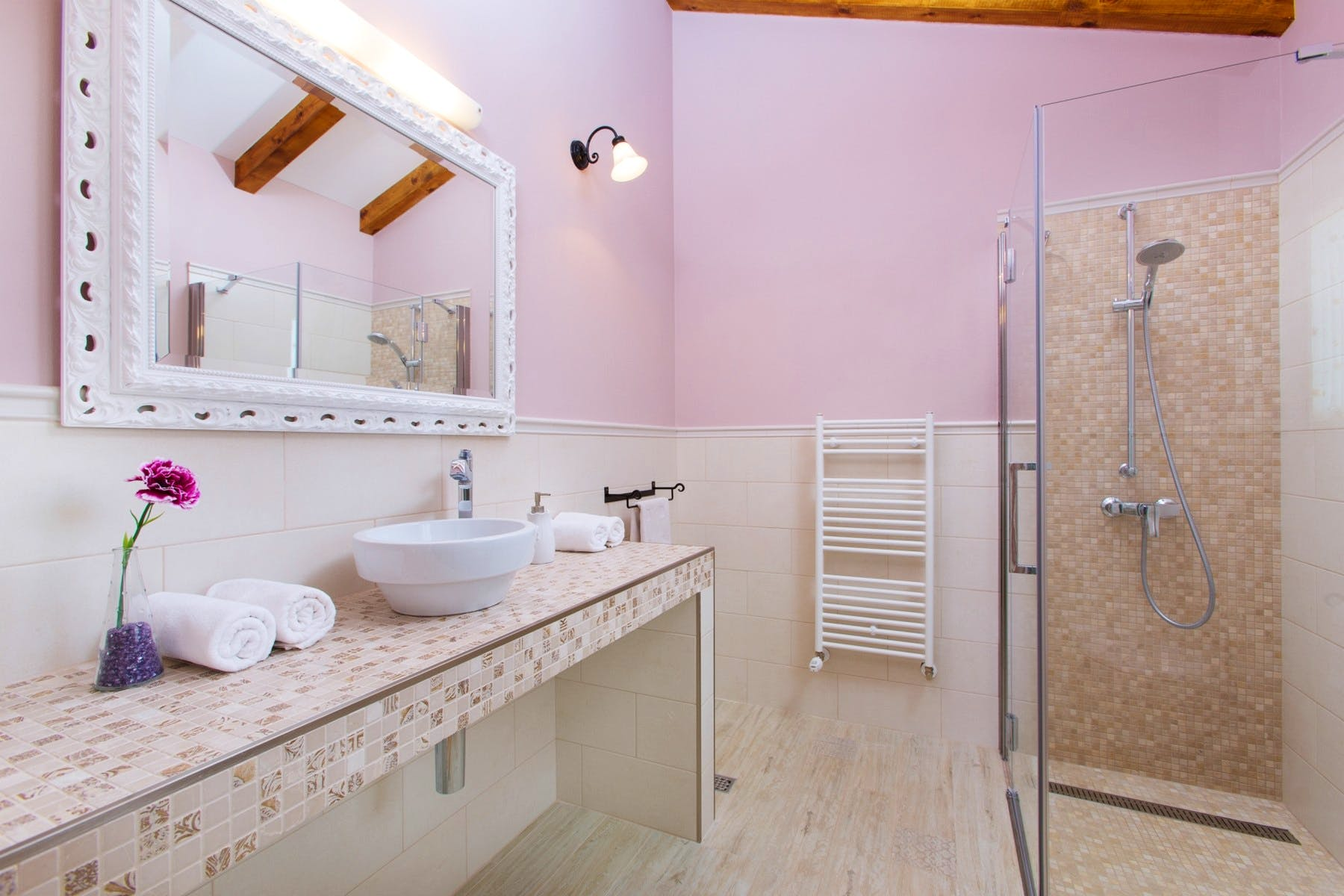 Spacious bathroom with walk in shower