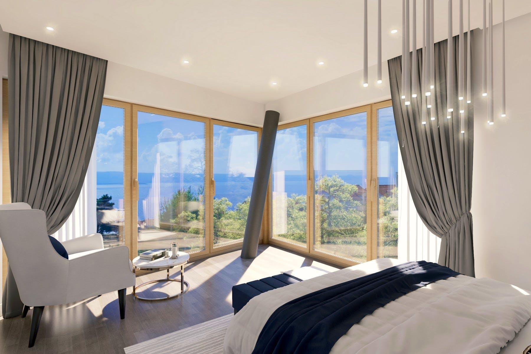 Prekrasni pogled na more iz dvokrevetne spavaće sobe