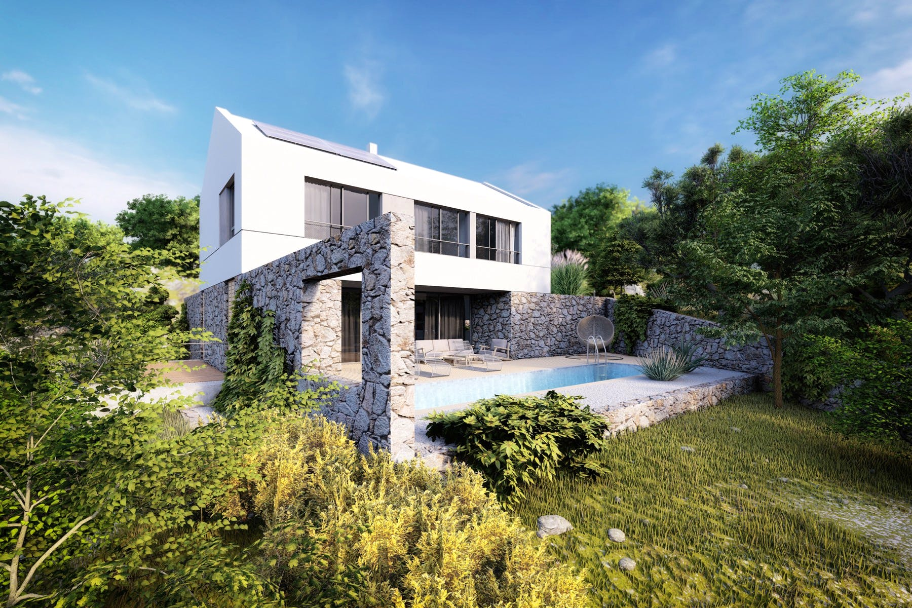 Project of the luxury villa with swimming pool