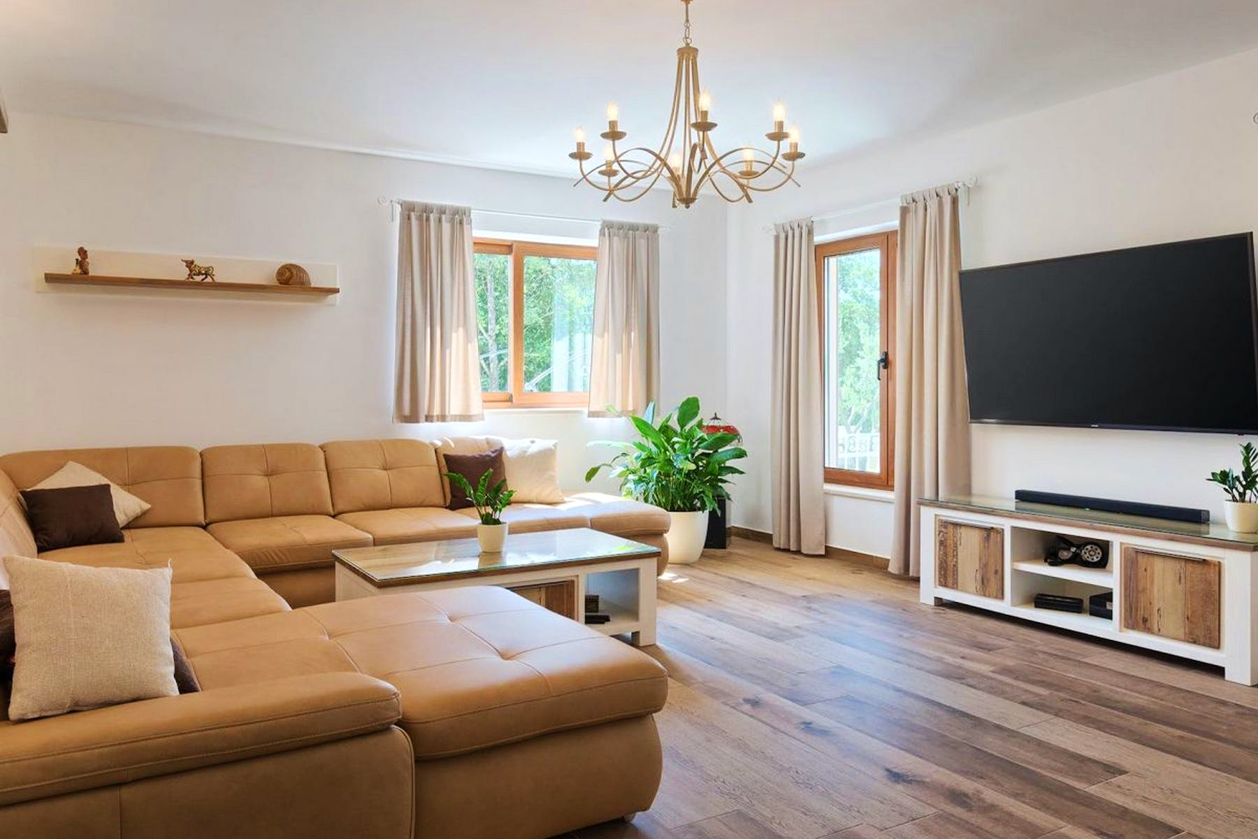 Soothing tones of the spacious living area