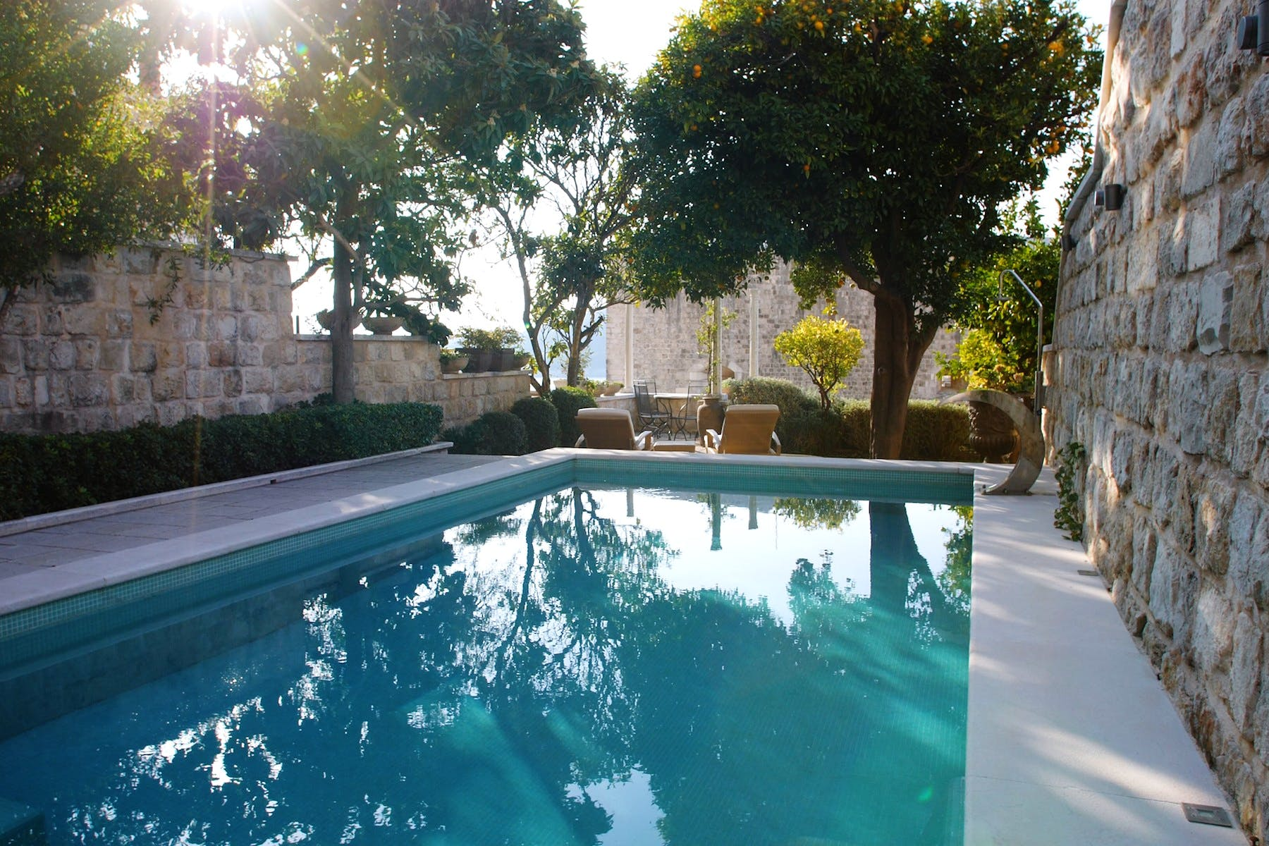 Scenic Mediterranean garden enhanced by pool