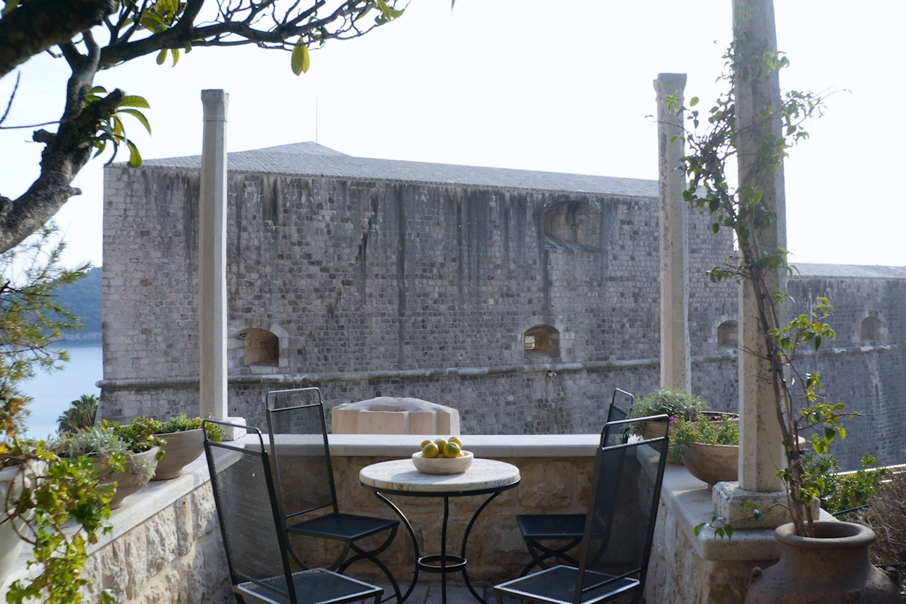 Outdoor terrace with romantic view of Dubrovnik