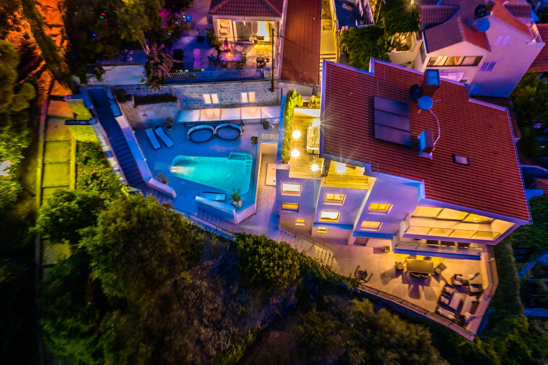 Night ambiance of the luxurious villa in Dubrovnik
