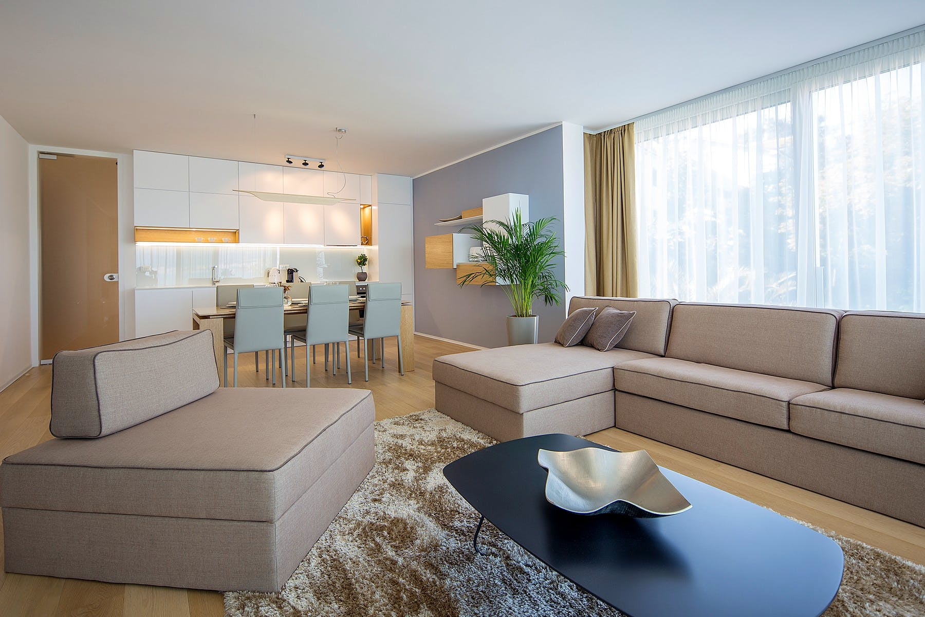 Open space living area with kitchen, dining room and living room