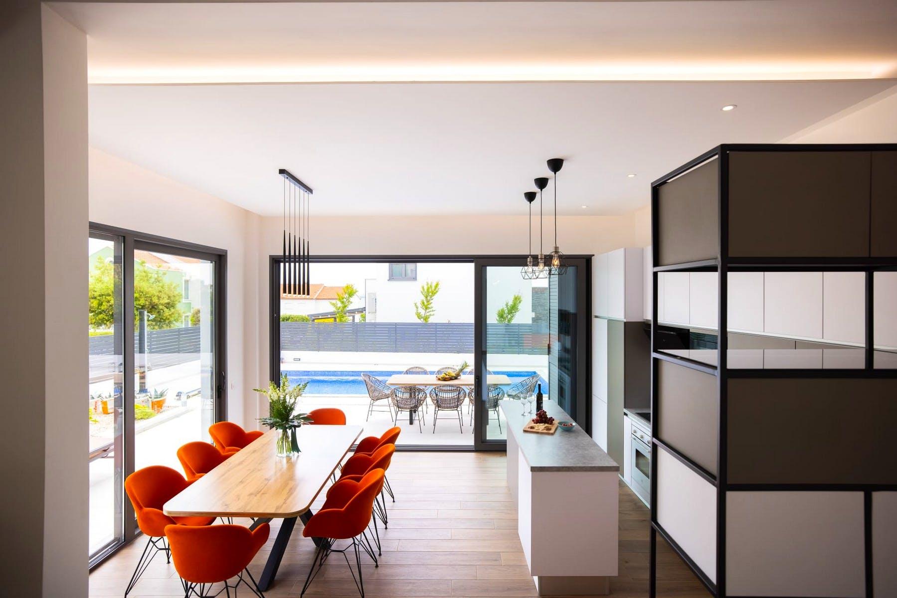 Modern interior design enhanced by colorful details