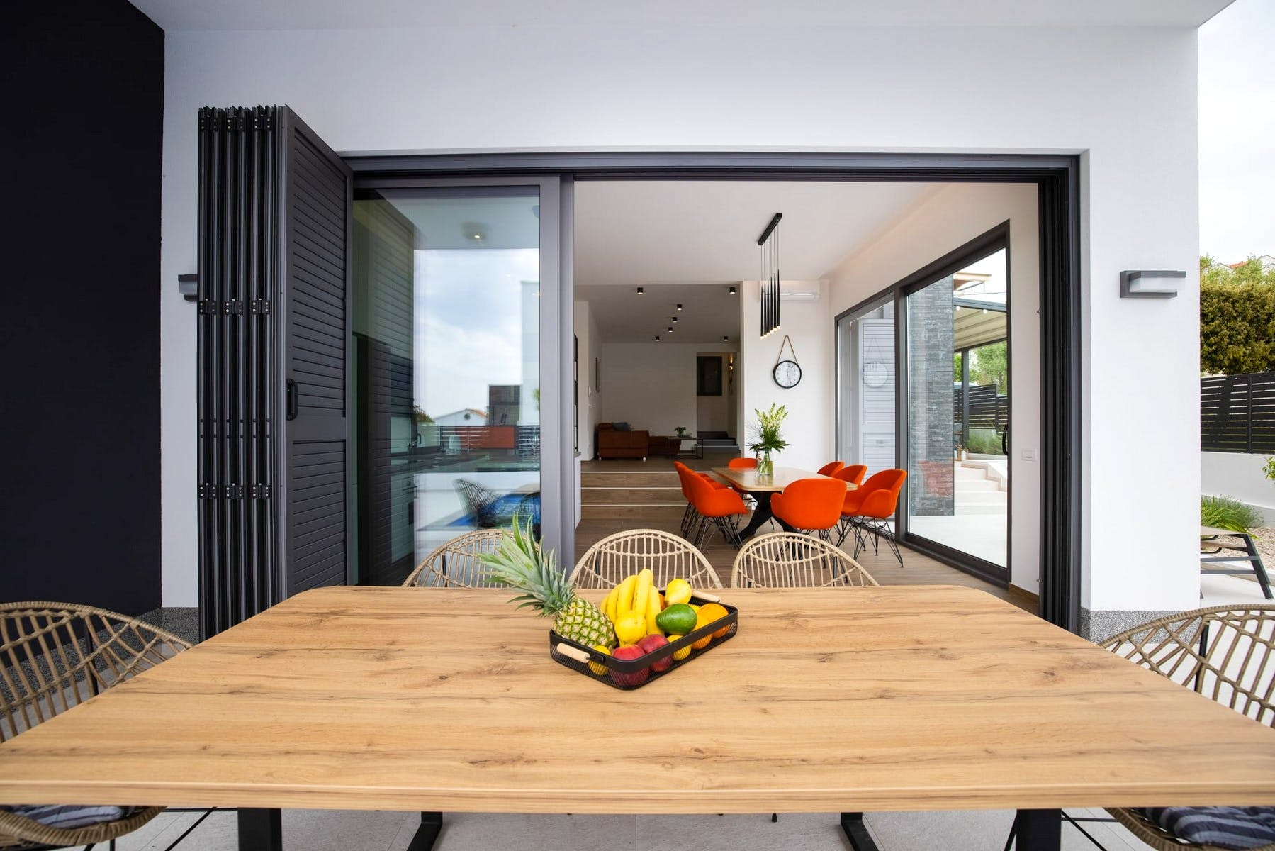 Outdoor dining area connected to the interior space