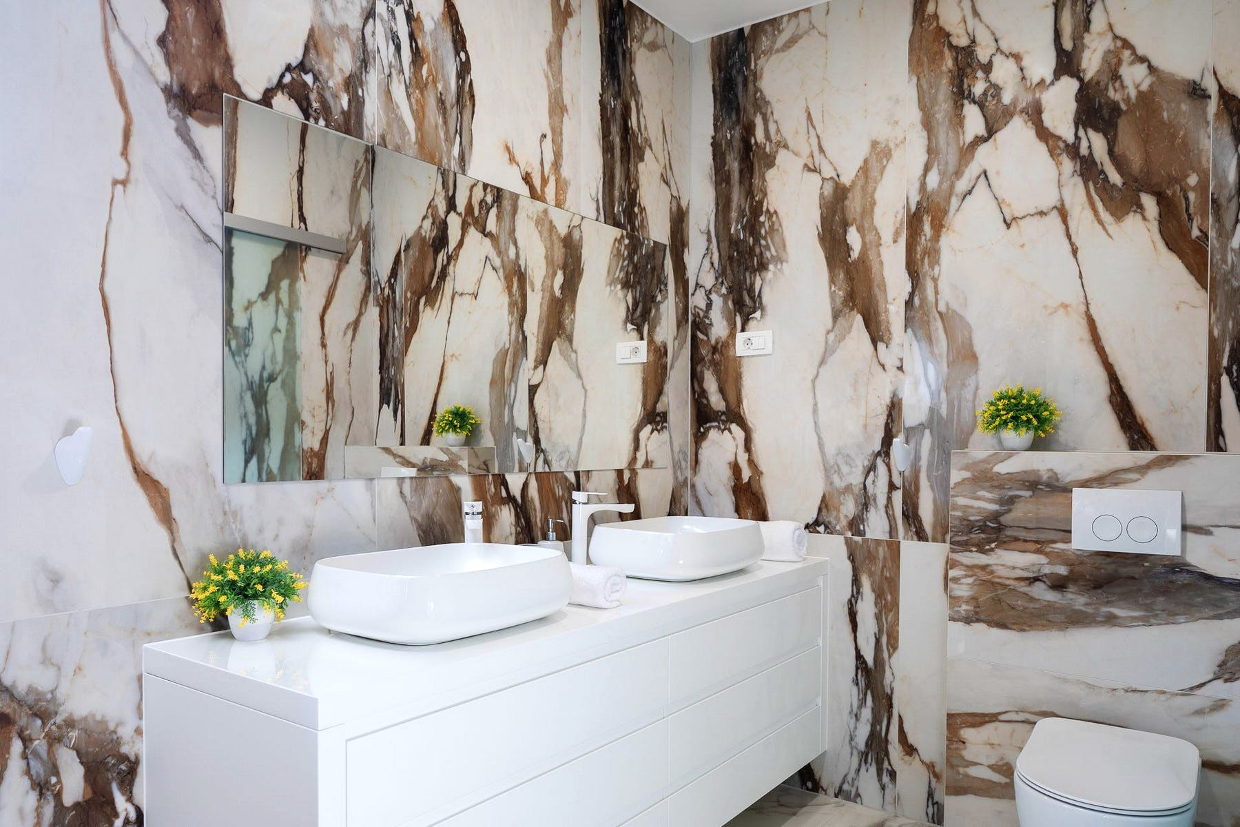 Marble bathroom with double sink